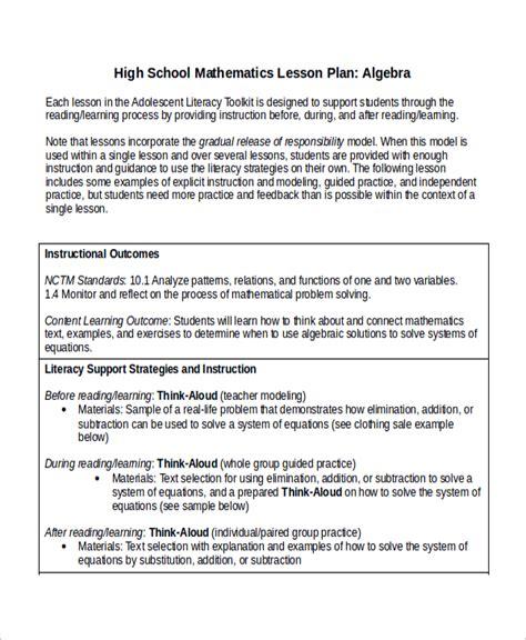 math lesson plan template high school www pixshark