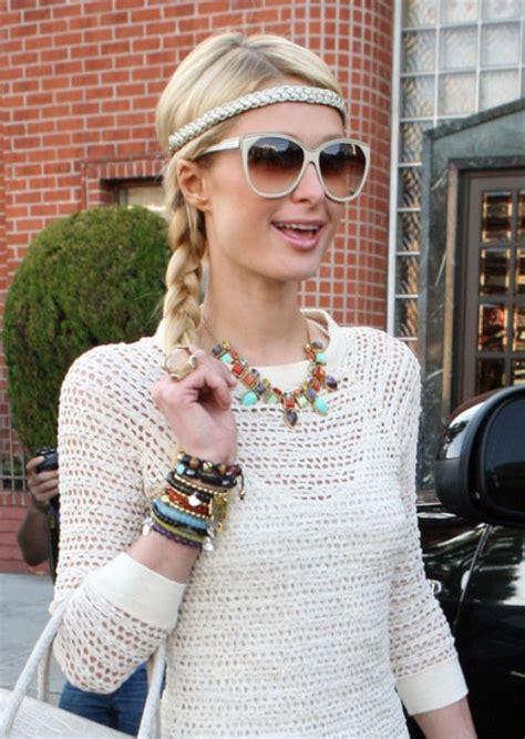 paris hilton cute casual long braided hairstyle