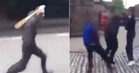 shocking moment fighting yobs  armed