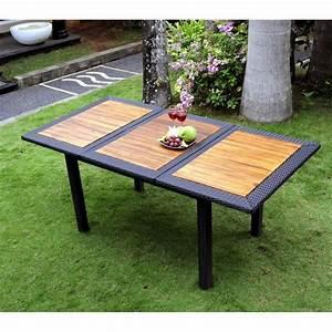 Table De Jardin Resine : table de jardin en teck en r sine tress e rectangulaire tr s tendance ~ Teatrodelosmanantiales.com Idées de Décoration