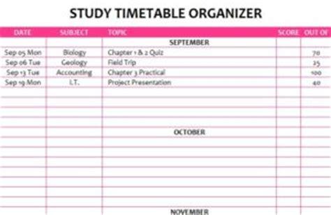 study timetable organizer  excel templates