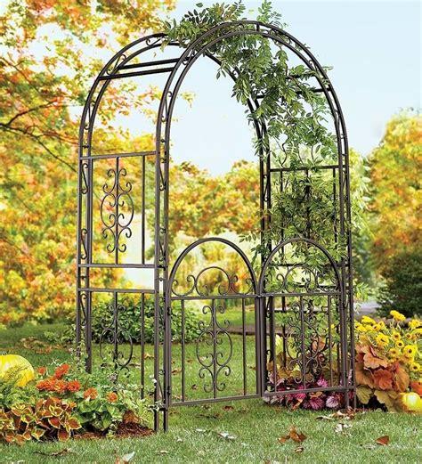 Metal Garden Trellis With Tree Of Design large garden arbor iron patio archway w optional gate