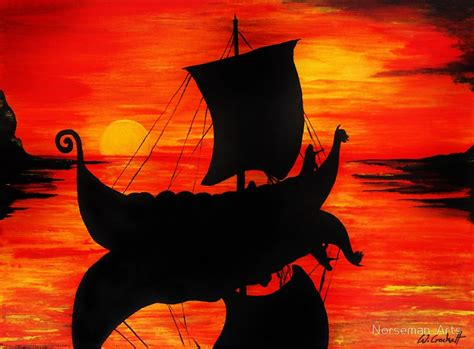 Viking Longboat Description by Quot Viking Longboat Sunset Quot By Thecroc1979 Redbubble
