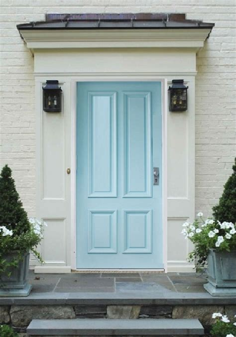pearl white brick trim  baby blue door exterior