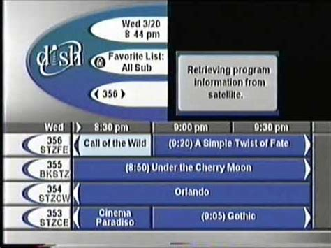 march 20 2002 8 44 pm dish network program guide youtube
