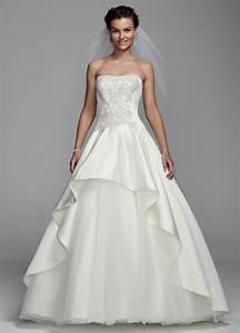 oleg cassini strapless satin ball gown wedding dress with With davids bridal wedding dress preservation