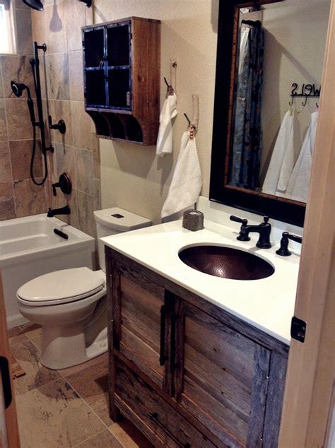 small rustic bathroom ideas small quot modern rustic quot cabin bathroom remodel with grey barnwood vanity bathroom ideas
