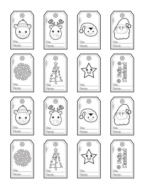 Etiquetas de navidad para colorear y para imprimir