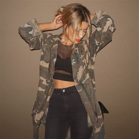 Jacket camo jacket black outfit tumblr outfit cute cute outfits camouflage - Wheretoget