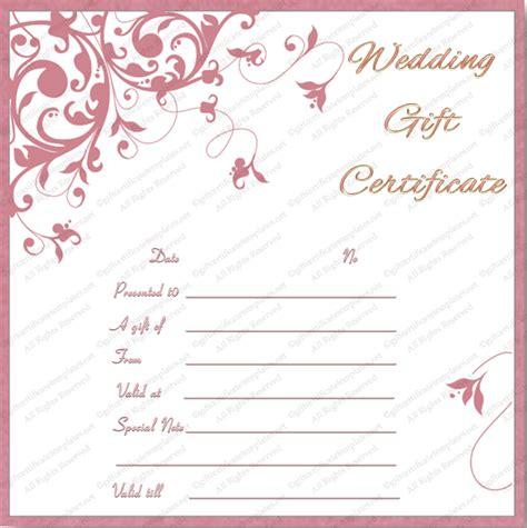 printable tea pink wedding gift certificate template