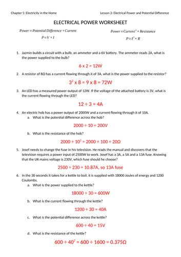 electrical power worksheet with answers by jwansell