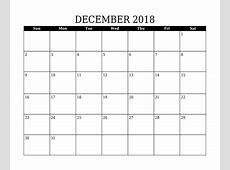 Free December 2018 Calendar in Printable Format Templates