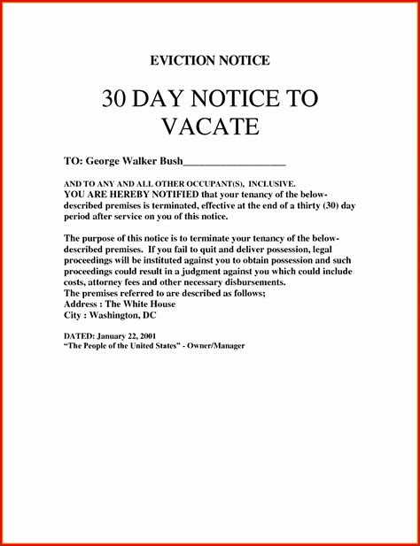 eviction notice template  ms excel sampletemplatess
