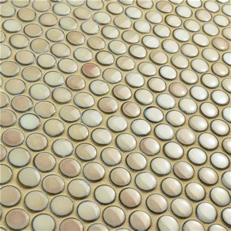 London Beige / Cream Penny Round Glossy Porcelain Mosaic Tile