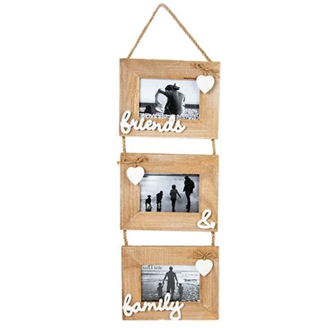 shabby chic family photo frame shabby chic friends and family triple wooden photo frame
