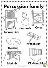 Percussion Instruments Bells Tubular Names Drum Line Anastasiya Studio Puzzles Three Activities Marimba Worksheets Bass Crafts Snare Tracing sketch template