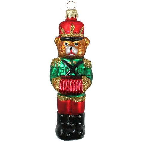 musician bear with accordion and green jacket glass