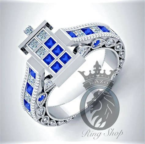 beautiful doctor who 1 100th scale tardis engagement rings sci fi design
