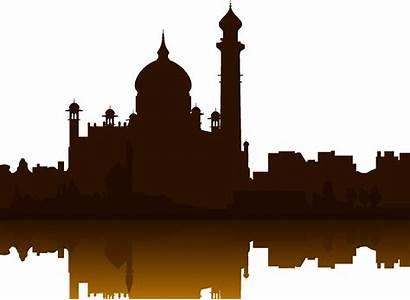 Silhouette Landmarks Taj Mahal Building Getdrawings