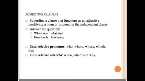 adjective  adverb clauses youtube