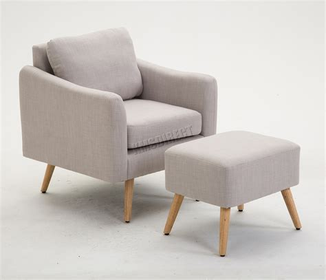 Armchair With Stool by Westwood Modern Fabric Armchair Lounge Tub Chair With Foot