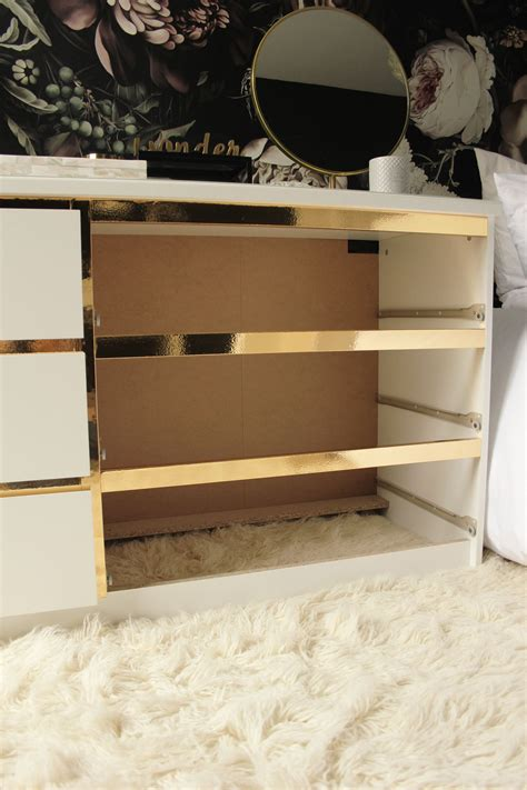 preciously me diy ikea hack customize and glamorize a malm dresser with gold contact
