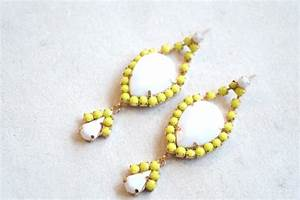 Neon Yellow and White Rhinestone Acrylic Earrings on Storenvy