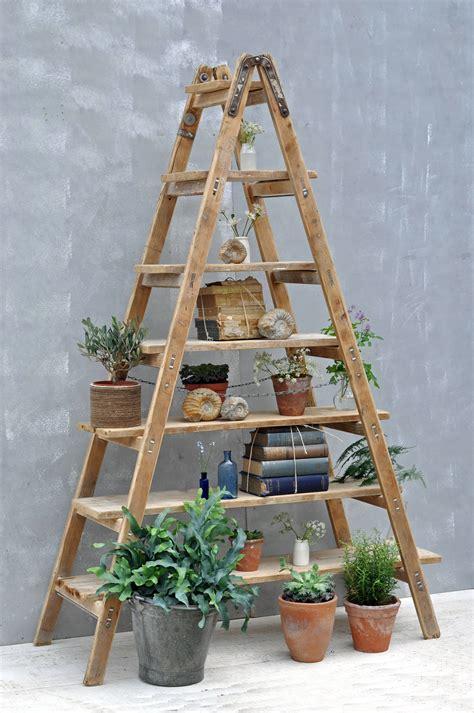 vintage ladder shelf 46 rustic wooden ladder shelf ladder shelving unit 3231