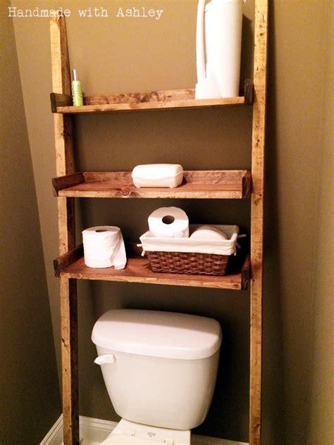diy leaning ladder bathroom shelf plans  ana white