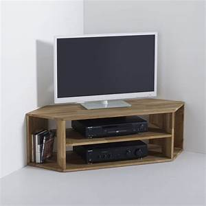 Meuble tv d39angle chene massif edgar chene la redoute for Deco cuisine pour meuble tv verre