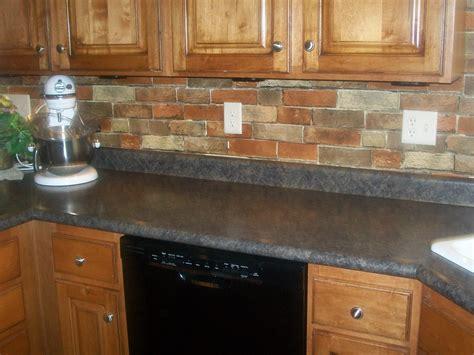 Red Brick Backsplash For Narrow Kitchen Design With Oak