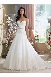 A Line Strapless Sweetheart Satin Lace Wedding Dress With ...