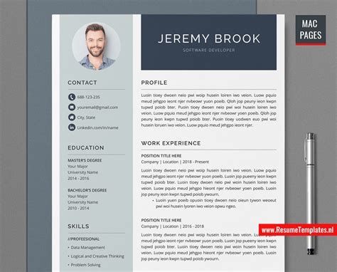 One of the most important first steps in applying to a residency program is the creation of your curriculum vitae. Simple CV Template / Resume Template for Mac Pages, Cover ...