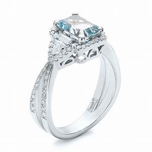 Custom aquamarine and diamond halo engagement ring 102048 for Wedding rings aquamarine