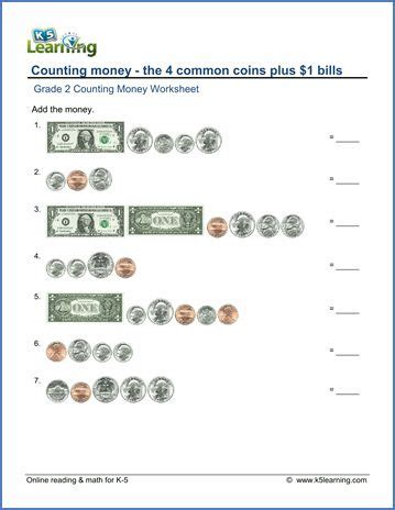 grade 2 counting money worksheet counting the 4 coins plus 1 bills 2nd grade learning