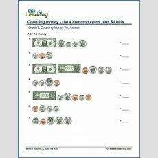Grade 2 Counting Money Worksheet On Counting The 4 Coins Plus $1 Bills  2nd Grade Learning