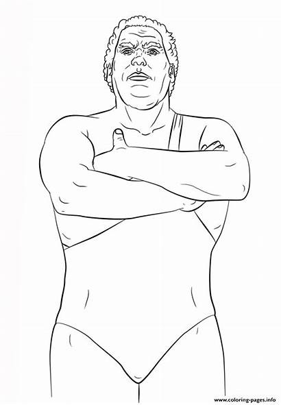 Wwe Coloring Andre Giant Pages Styles Printable