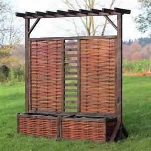 Jardiniere Avec Treillis Carrefour : panneau pergola double jardini re en osier et pin fsc ~ Dailycaller-alerts.com Idées de Décoration