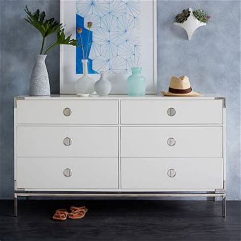 malone campaign  drawer dresser white lacquer west elm