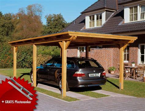 Holz-carport-bausatz 12x12cm-pfosten Flachdach 1 Auto Leimhol-einzelcarport