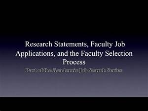 Sample Of A Job Application 10 28 2011 Research Statements Faculty Job Applications