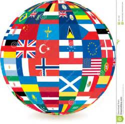 World Globe with Countries Flags