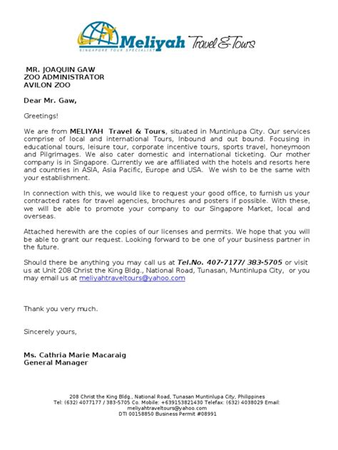 request letter  contracted rates travel agency business