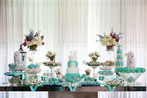 sweet sixteen dessert table blooming table tiffany blue sweet 16