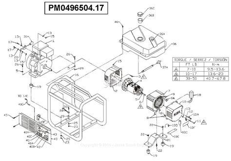 Coleman Powermate Generator Wiring Diagram by Powermate Formerly Coleman Pm0496504 17 Parts Diagram For