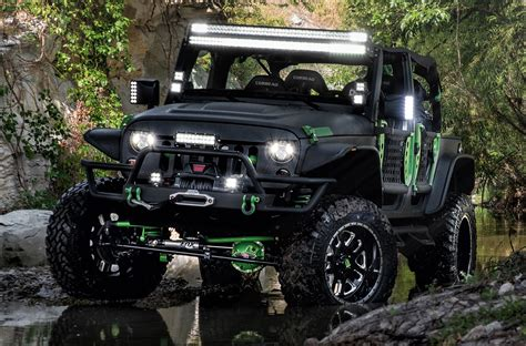 monster energy jeep black green monster energy jeep jk offroad build carid