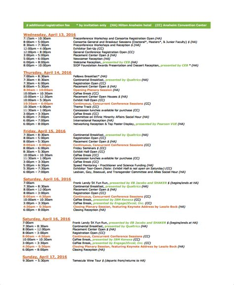 Template For Schedule Of Events by 7 Event Timetable Templates Sle Templates