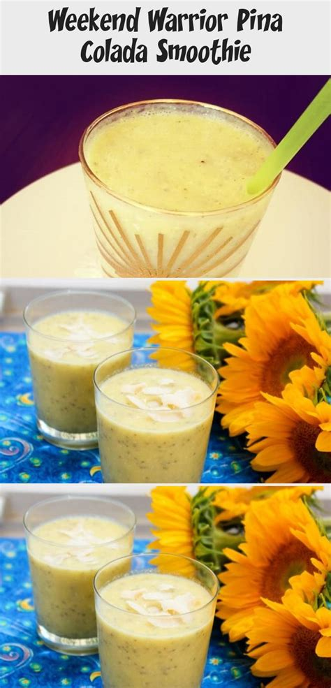 The traditional blended pina colada recipe doesn't use frozen pineapple, but i find it adds a bit more flavor and reduces the amount of ice needed. Weekend Warrior Pina Colada Smoothie - Quotes | Recipe in ...