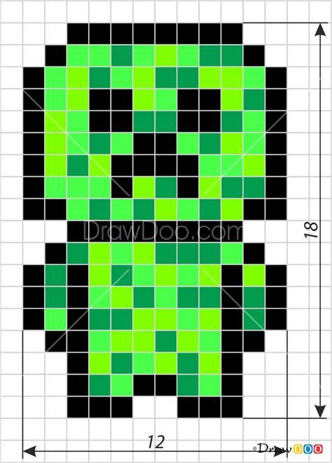 draw creeper chibi pixel minecraft