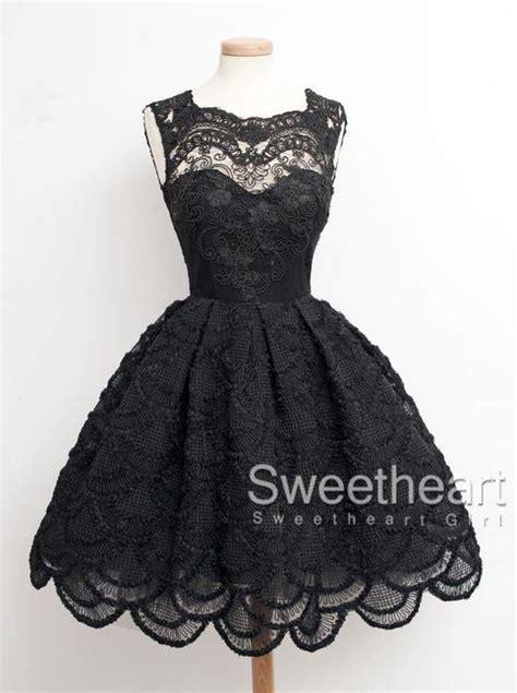 sweetheart girl black lace short prom dresshomecoming